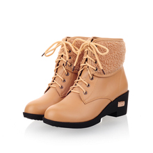 Winter Fashion Black Brown Beige Women Military Combat Ankle Boots Ladies Shoes Thick Fur A1315-2M Plus Big Size 34 43 10 - Armoire store