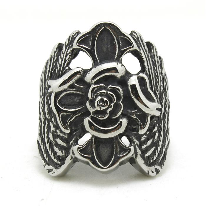 Newest Design Mens Boys 316L Stainless Steel Cool Angle Wing Flower Vintage Ring Fashion Price(China (Mainland))
