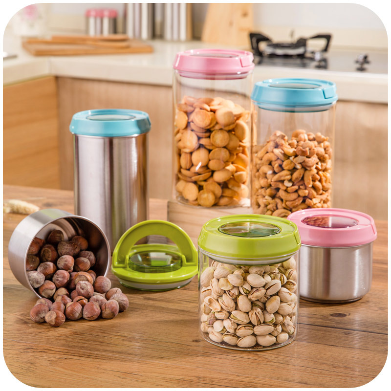 Japanese mentioning snap sealed cans grains storage tanks, stainless steel snack container sealed glass jar 1100ML(China (Mainland))
