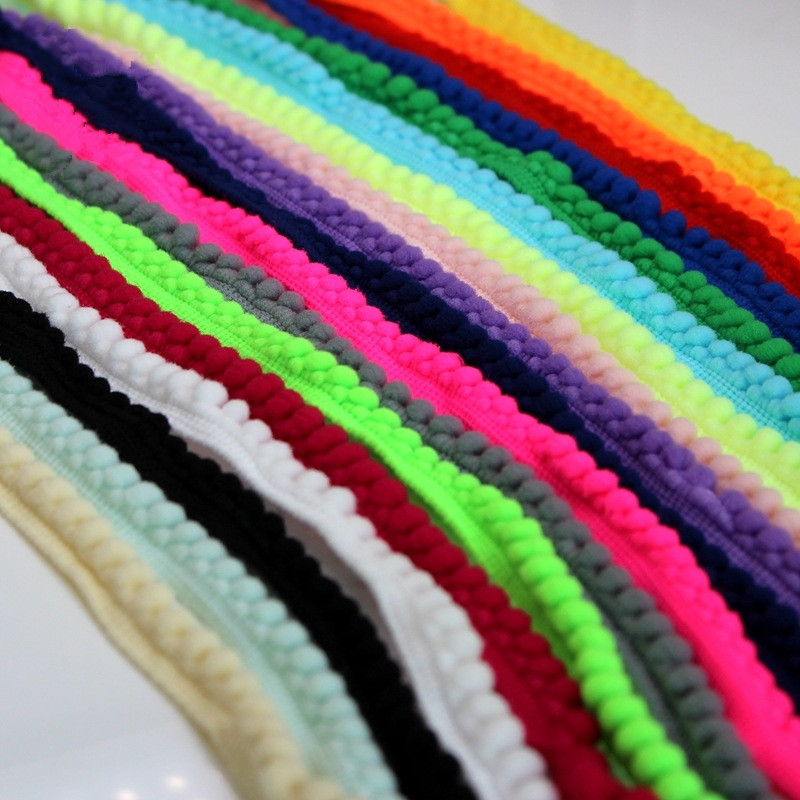20yards Meetee 1cm Trim Ball Fringe Ribbon Curtain table cloth DIY Sewing Accessory Lace 18 Colors For Home Party Decoration(China (Mainland))