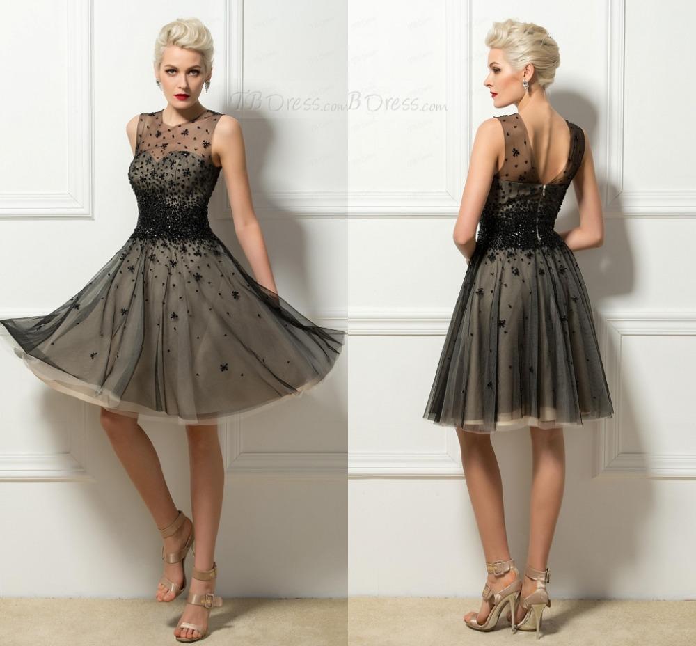 Luxury elegant sequin beaded sheer black women short for Ladies dresses for wedding party