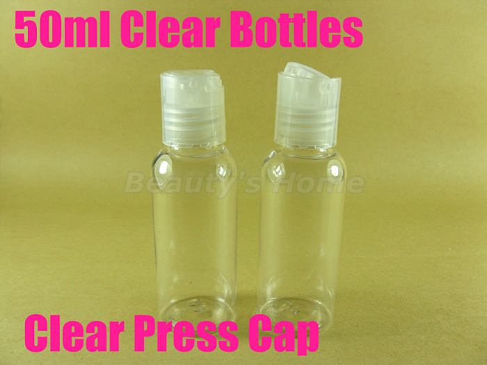 50ml Press cap Clear bottle comestic make container small/empty bottles #2093 - Packing Supplier(Bottles and Jars store)