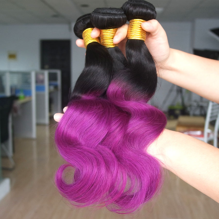 Purple Hair ombre weave 3 bundles sale two tone colorful hair extensions ombre human hair(China (Mainland))