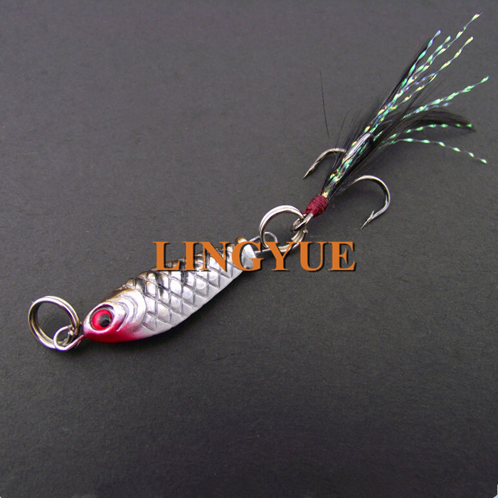 2015 Hot sale 1pcs hard pencil Minnow Metal tackle small lead fishing lures with feather 2cm/6.4g(China (Mainland))