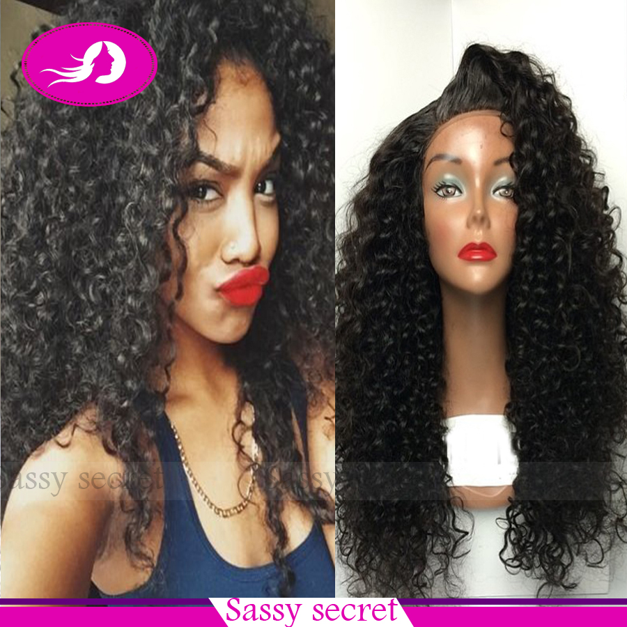 Fashion Hot Selling Long Bouncy Soft kinky curly Natural Black Heat Resistant Hair Synthetic Lace Front Women Wigs Fast Shipping