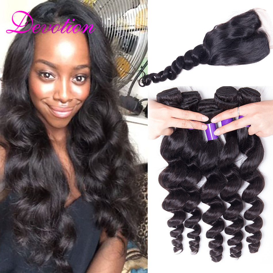 ms lula Hair with Closure and Bundles Top Quality 7A Peruvian Loose Wave with Closure 4 Bundles Hair Weave With Top Lace Closure