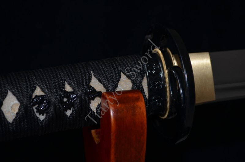 Buy Samurai Japanese Short Sword Tanto Handmade Custom Blade Sharp 1060 High Carbon Steel Alloy Tsuba Real Rayskin Handle Knife Sale cheap