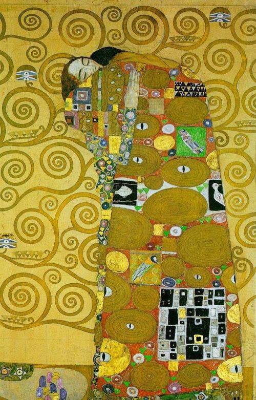 Wonderful Oil painting Gustav Klimt Fulfillment abstract lovers portrait canvas(China (Mainland))