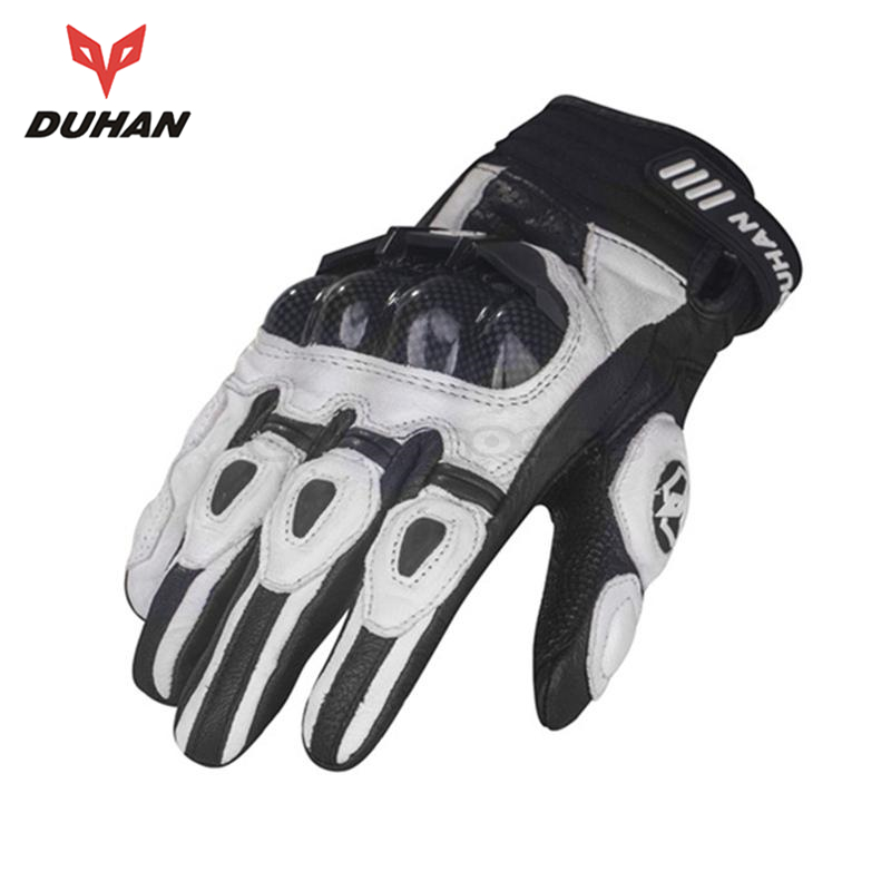 DUHAN Outdoor Sports Motocross Off-Road Motorcycle Riding Knight Gloves Full Finger Goat Skin Leather Carbon Fiber Racing - JACKY PENG's store