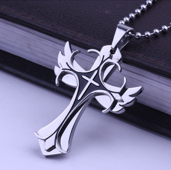 Angel wing Stainless Titanium Steel Crucifix Men Gift Items Cross Pendant Necklace Fashion Men Jewelry 2015(China (Mainland))