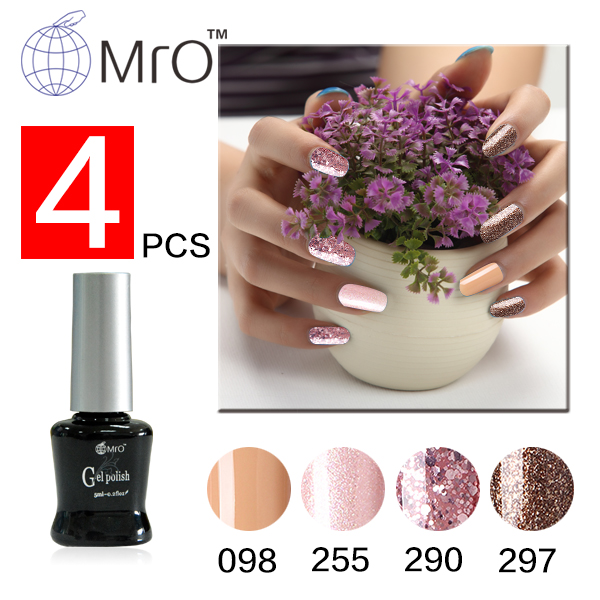 Mro 4 pieces/lot 3 step uv gel nail polish colored gel polish gel varnishes professional lacquer vernis permanente harmony nails(China (Mainland))