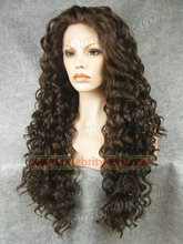 N18 6 8 Top Quality Fiber Loose Curly Wigs Synthetic Lace Front Wigs 180 Density Black