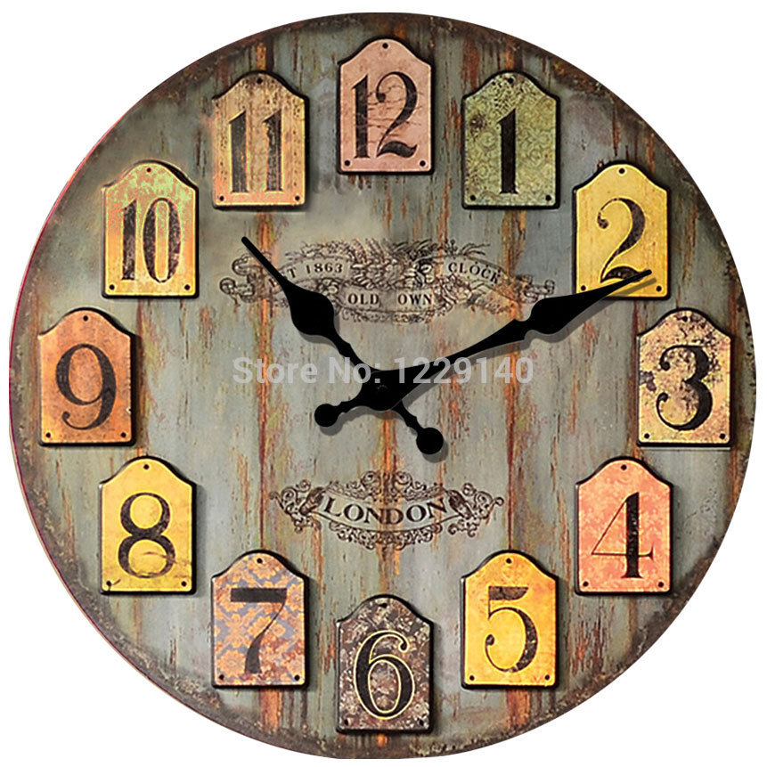 New Fashion Vintage Retro Europe Style Home Living Bedroom Decor Wood Wall Clock Times Hours