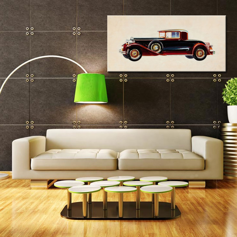 1 Picture Combination Vintage Car Pictures Still Life Oil Painting Modern Canvas Wall Art for Home Decoration with NO Framed(China (Mainland))