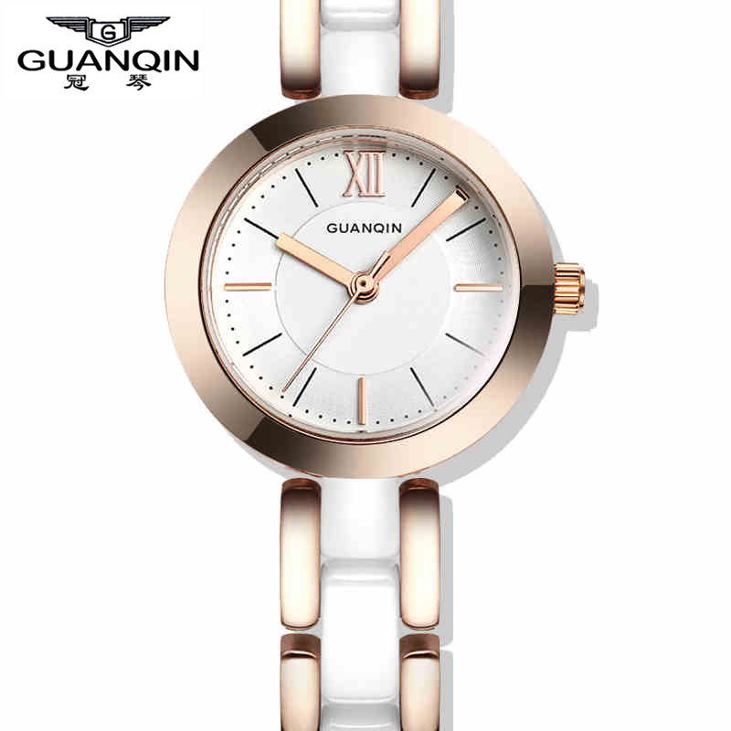 New Arrive GUANQIN Fashion Casual Ladies Dress Gold Watches Elegant Women Ceramic Quartz Wristwatches Waterproof Watch 2015<br><br>Aliexpress