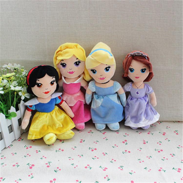 Free shipping 4pcs/lot Original cute Princess Doll Snow White Princess&Cinderella&Aurora& Sofia the First princess Plush dolls(China (Mainland))