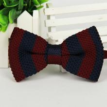 brand gravata corbatas pajaritas hombre Red Dark blue man Knitting Bilayer Bow ties LYY4675 marca noeud