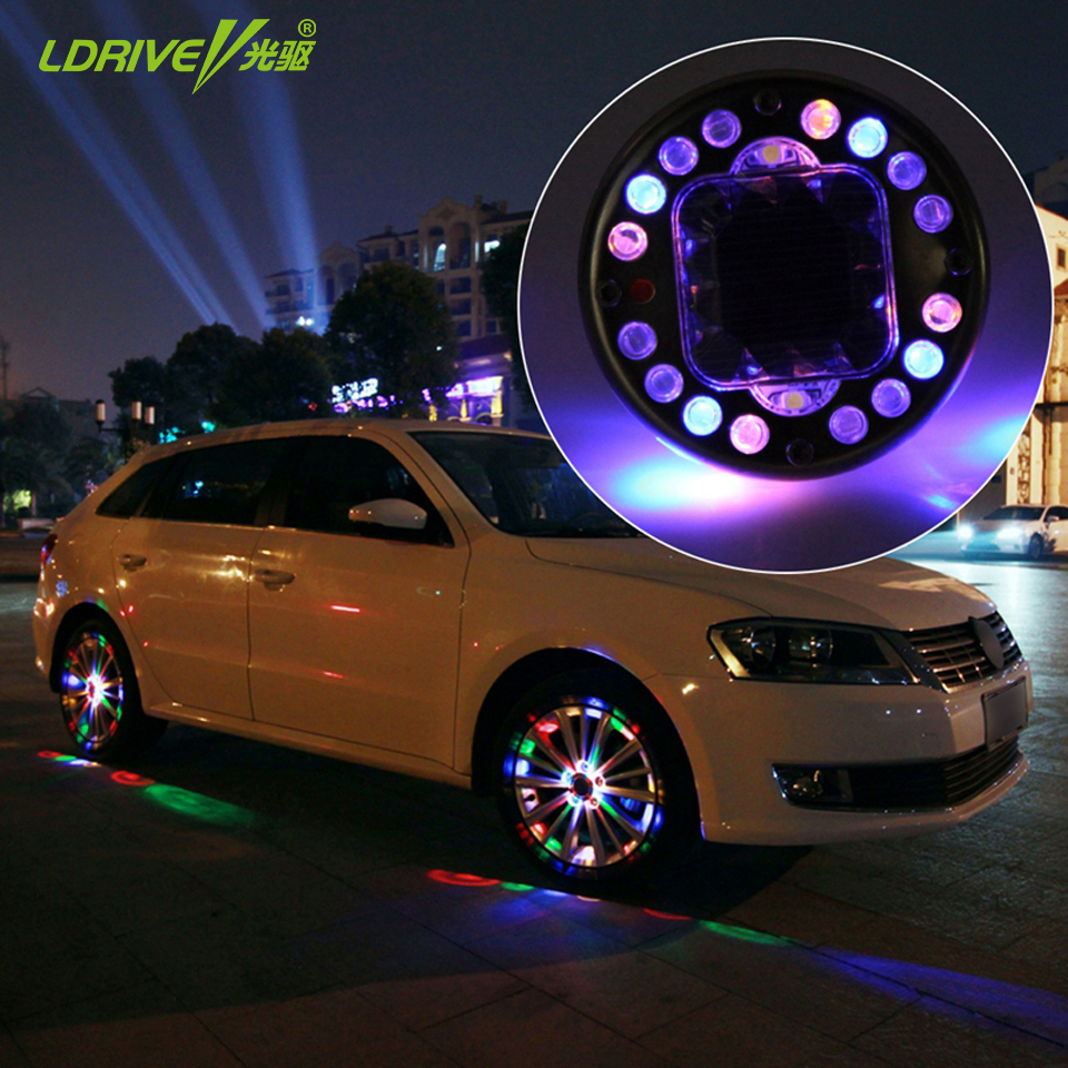 Hot Sales 16LED Car Auto Solar Energy Flash Wheel Tire Light Valve Stem Cap Light Warning Lamp Air Dust Caps Decoration(China (Mainland))