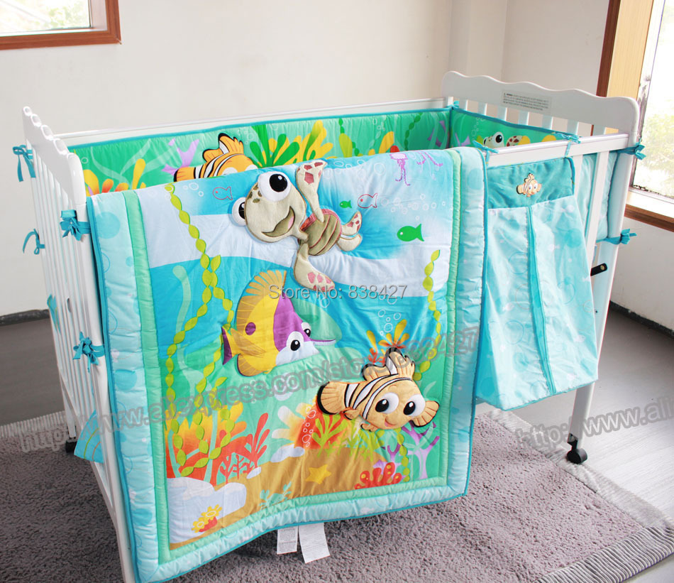 fish ocean Baby Bedding Set Cot Crib girls boys includes cuna Quilt baby bed bumper Sheet Skirt - Fasion home mart store