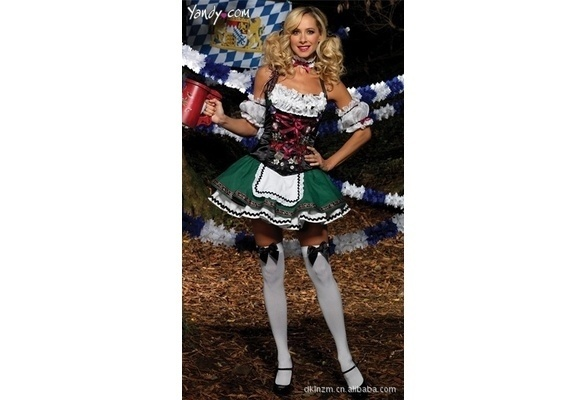 NewS M L XL Plus Size Sexy Beer Sister Costume Green Oktoberfest Uniforms Dresses Woman Maid Costume Restaurant Waiter Outfits(China (Mainland))