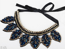 Free shipping Hot new fashion jewelry accessories punk Metal leaves crystal false collar necklace wholesale Dickie