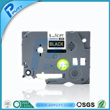 Hot Sale Cheap Price tze tape TZe-324 Compatible P-Touch label tapes 9mm label tape Gold on black