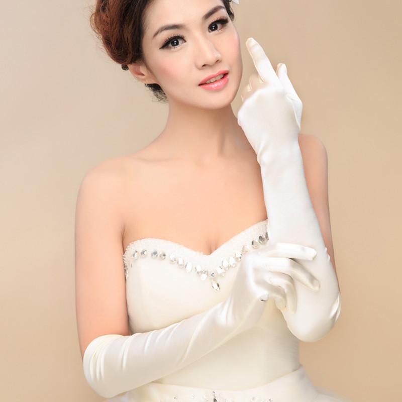 Bridal satin gloves The bride chic upscale white long black gloves Black satin elastic gloves wedding