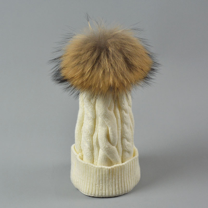 Free shipping hot sale female winter knitted patterns hats natural 18cm big pom pom raccoon fur beanie for women(China (Mainland))