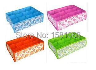 High Quality 2014 NEW Hot Sale Folding 12 Grid Storage Box For Bra/Underwear/Socks 31*23*11CM Non-Woven Fabric Free Shipping(China (Mainland))