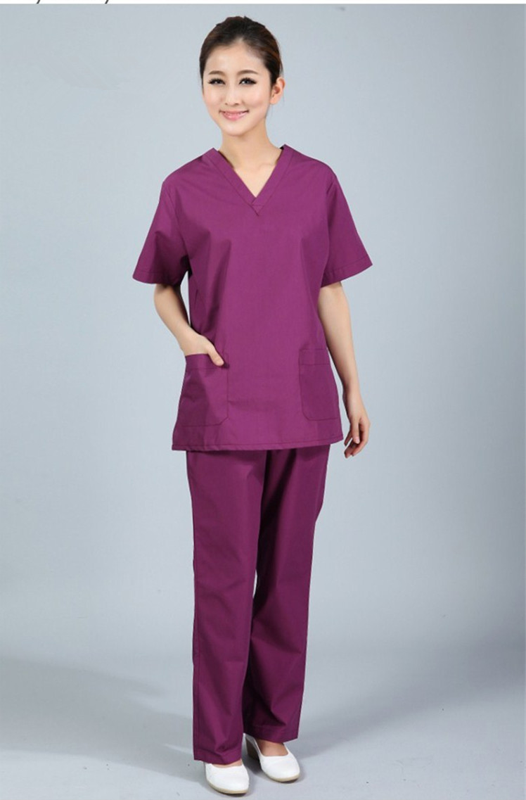 New plus size WoMen's V neck Summer Nurse Uniform Hospital Medical Scrub Set Clothes Short Sleeve Surgical Scrubs(China (Mainland))