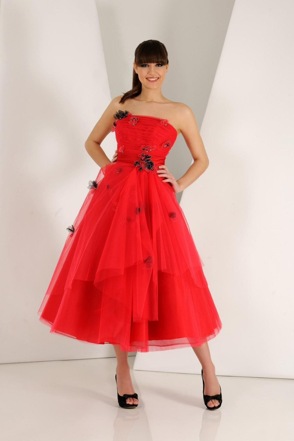 Strapless 2015 red tea length prom dresses backless a line for Red tea length wedding dress