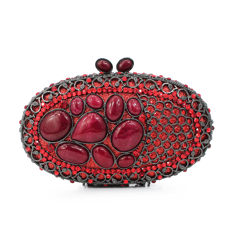 newest design red diamond crystal clutch evening clutch bag ladies stone purse (88173A-R)(China (Mainland))
