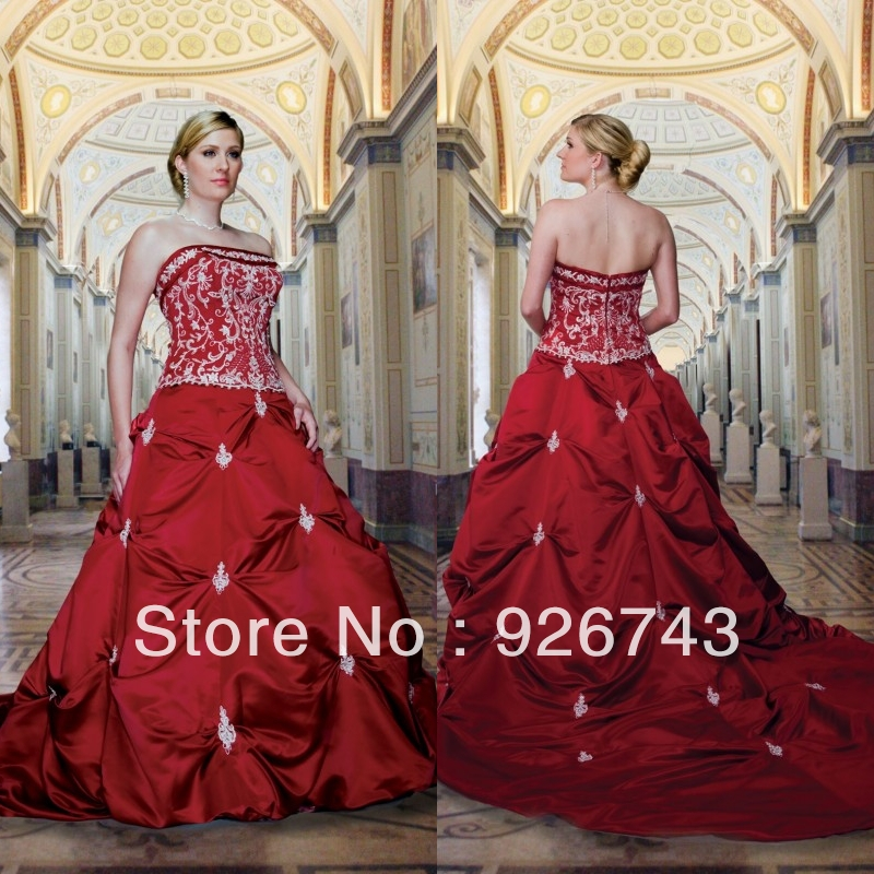 2013 retro strapless flower patterns ball gown plus size for Dresses to wear to a christmas wedding