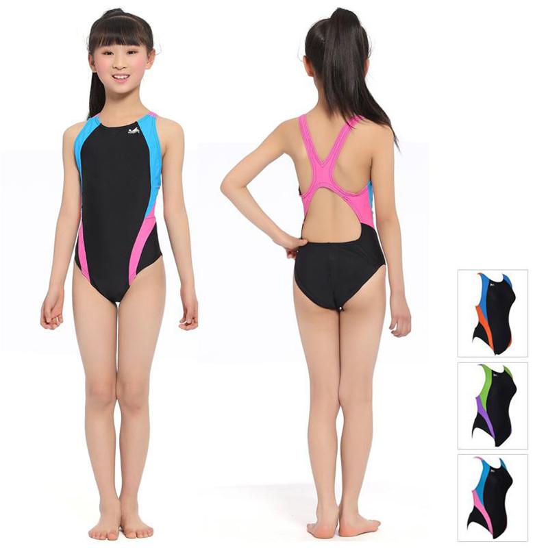2016 Kids Girls Swimwear Professional Children One Piece Swimsuit Baby Bathing Suits Racing Competition Tight Swimming Swim Wear - Amazing Kids' Shopping Mall store
