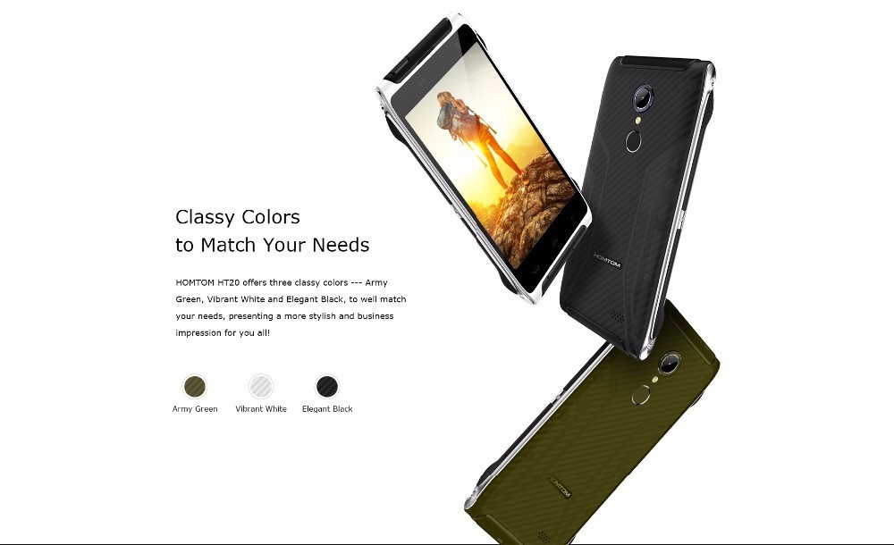 Original HOMTOM HT20 Android 6.0 MTK6737 Quad Core smartphone 4.7″HD 2GB+16GB 4G LTE Waterproof 13.0MP Fingerprint Mobile Phone