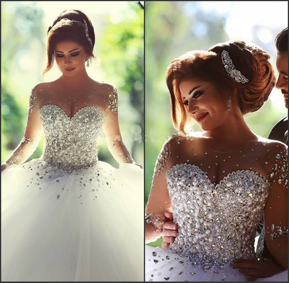Said Mhamad Ball Gown Wedding Dress 2017 High Quality vestidos de noiva Sheer Sleeves Bridal Gowns with Crystals Sweet Wedding(China (Mainland))