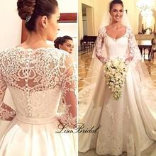 Vestidos de noiva New Design Long Wedding Dress 2017 V-neck Long Sleeves Chapel Train Lace Satin A-Line Wedding Gowns With Veil(China (Mainland))
