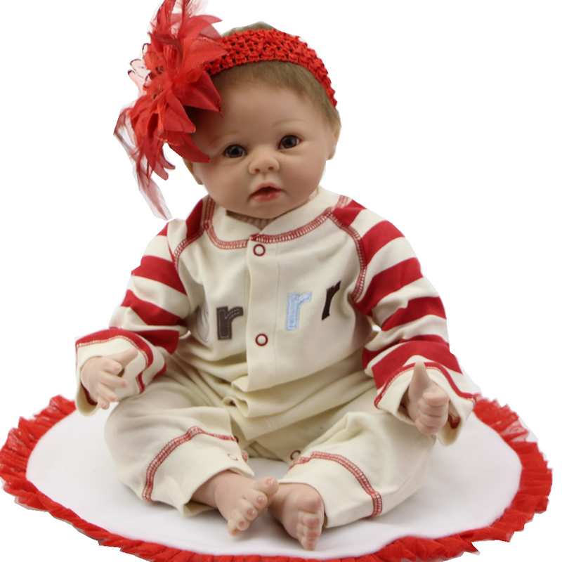 Фотография Silicone Reborn Dolls 22 Inch Lovely NPK Collection Doll Realistic Baby Girls Lifelike Newborn Babies Kids Birthday Xmas Gift