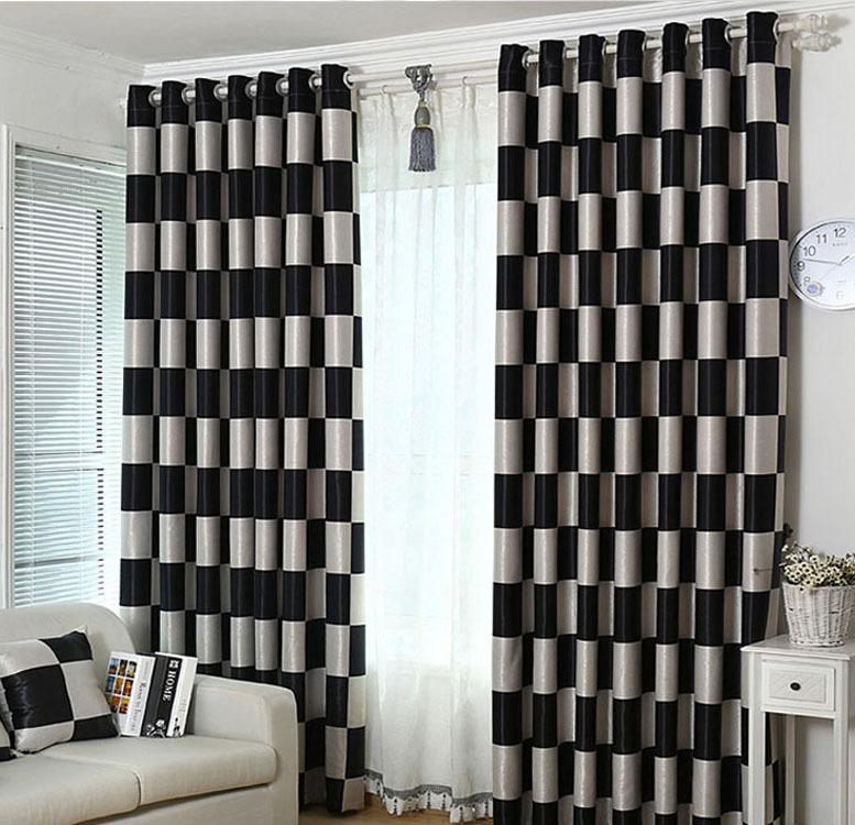 Achetez en gros noir blanc rideaux carreaux en ligne des grossistes noir blanc rideaux for Rideaux pour salon noir blanc