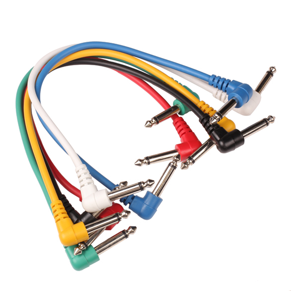 6Pcs Guitar Effect Pedal Angled Plug Leads Patch Cable Cord Right Multicolor(China (Mainland))
