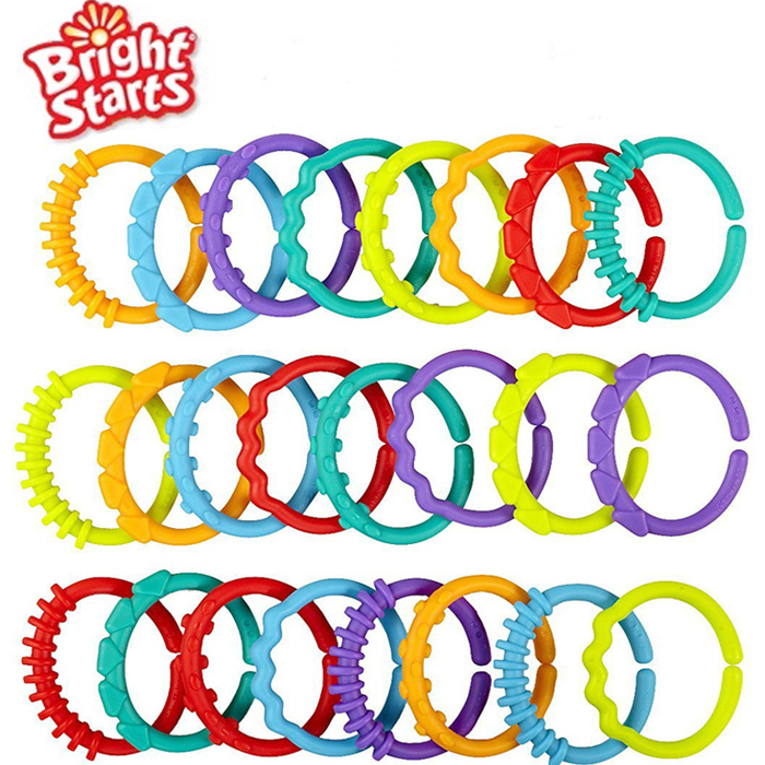 24pcs Baby Teether Toy 0M+ Baby Rattle Colorful Rainbow Rings Crib Bed Stroller Hanging Decoration Toys(China (Mainland))