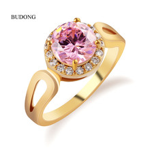 2017 BUDONG Brilliant Jordans Women Halo Big Finger Band Gold Plated Ring Round Cut Pink Crystal Zircon Wedding Jewelry R327(China (Mainland))