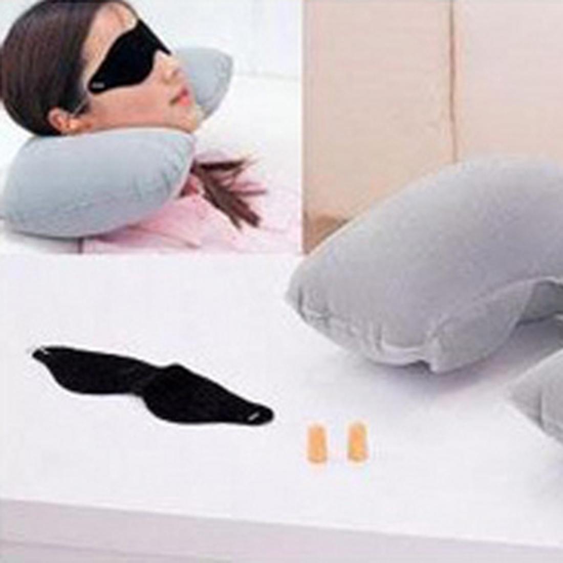 New U neck pillow travel pillow Flight Car Pillow Inflatable pillow Neck U Rest Air Cushion+ Eye Mask + Earbuds Free Shipping(China (Mainland))