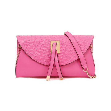 Fashion Women Genuine Leather Handbag Ostrich Grain Female Shoulder Crossbody bag Famous Brand Ladies Day Clutches 6colors LY070(China (Mainland))