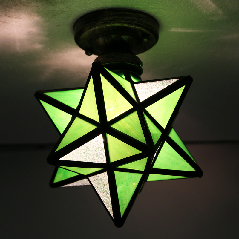 Tiffany Style Indoor E27 Hand-made Stained Glass Lamp Star Shade Ceiling Light(China (Mainland))