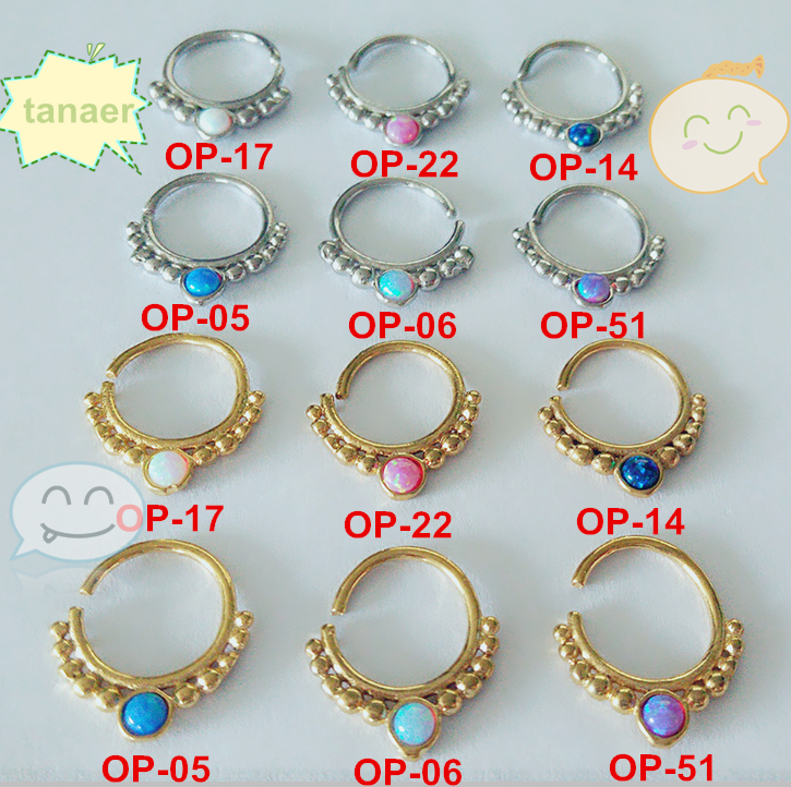2015 new Surgical Steel 16G opal piercing septum jewelry real septum rings opal septum nose ring 1pcs(China (Mainland))