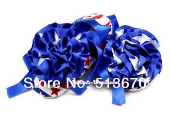 4TH July USA Flag Patriotic Stars Rose Royal Blue Ribbon Baby Crib Shoes NB-18 MMAS012