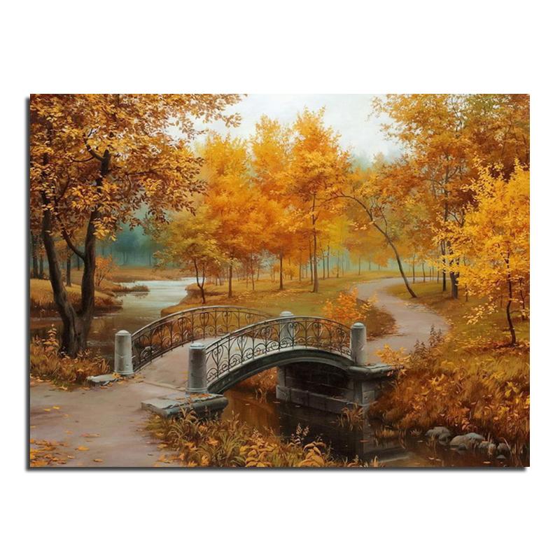Autumn Bridge Painting Autumn Bridge 67x50 Full