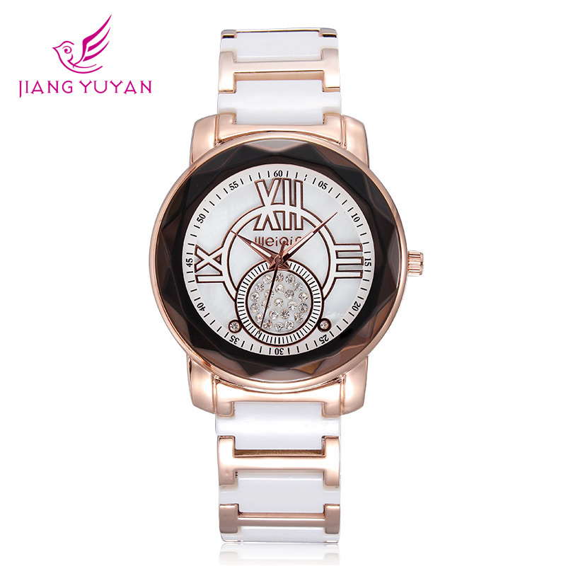 2015 New arrival women ceramic watches Japan quartz watches solid diamond rhinestone dial Rome number display<br><br>Aliexpress