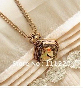 Retro crown crystal long necklace, free shipping